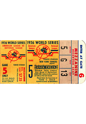 1956 World Series Game Five Ticket Stub (From Don Larsens Perfect Game)