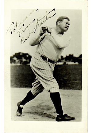 Babe Ruth Single-Signed & Inscribed B&W Post Card (JSA • PSA/DNA)