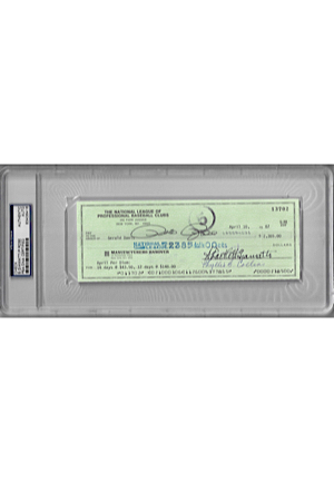 Encapsulated National League of Professional Baseball Club Check Signed By Bart Giamatti & Pete Rose (JSA • PSA/DNA)