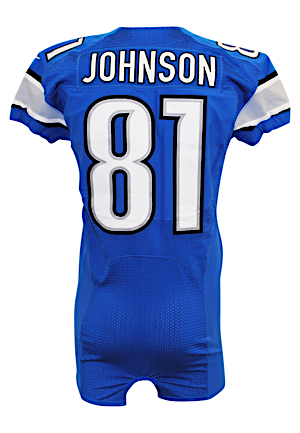 "2012 Calvin ""Megatron"" Johnson Detroit Lions Game-Used Home Jersey"
