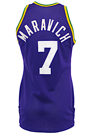 "Circa 1977 ""Pistol"" Pete Maravich New Orleans Jazz Game-Used Road Jersey (Basketball Hall Of Fame LOA • Graded 10)"