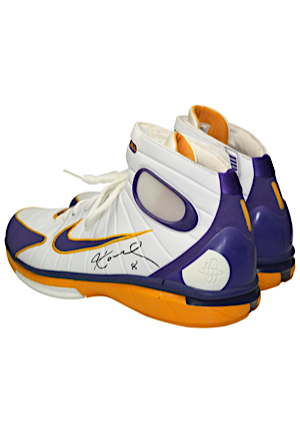bca622b086e Lot Detail - 2003-04 Kobe Bryant Los Angeles Lakers Game-Used Sunday  Alternate Home Jersey   Dual Autographed Sneakers Attributed To The NBA  Playoffs ...