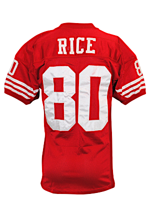 1995 Jerry Rice San Francisco 49ers Game-Used Home Jersey (Graded 10 • Photo-Matched to 12/18/95 289 Yards & 3TD Performance – Rices Best Career Game!)