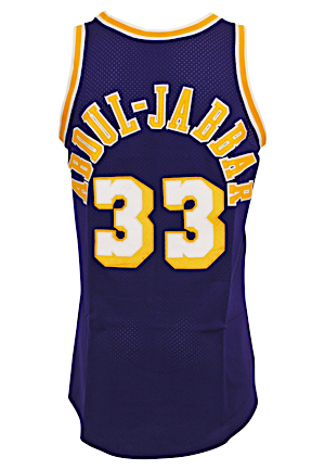 Circa 1984 Kareem Abdul-Jabbar LA Lakers Game-Used & Autographed Road Jersey (JSA • Basketball Hall Of Fame LOA)