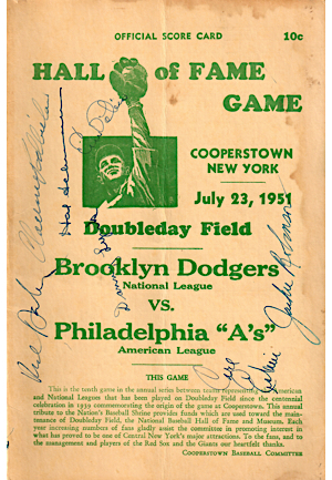 "Six Multi-Signed Hall Of Fame Game Official Score Cards Autographed By Jackie Robinson, Campanella, Cy Young, ""Kid"" Nichols & More (6)(JSA)"