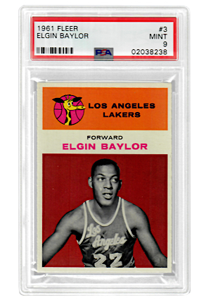1961 Fleer Elgin Baylor #3 (PSA Graded MINT 9 • Highest Graded Example)