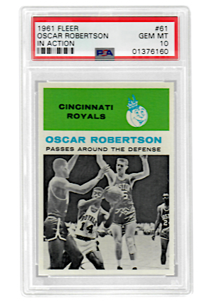 "1961 Fleer Oscar Robertson ""In Action"" #61 (PSA Graded GEM MT 10 • Pop 1)"