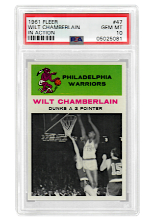 "1961 Fleer Wilt Chamberlain ""In Action"" #47 (PSA Graded GEM MT 10 • Pop 2)"