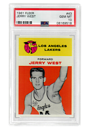 1961 Fleer Jerry West #43 (PSA Graded GEM MT 10 • Pop 3)