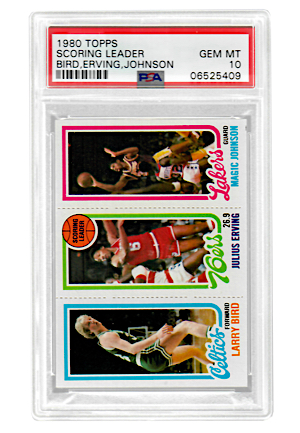 1980 Topps Scoring Leaders Bird, Erving, Johnson (PSA Graded GEM MT 10)