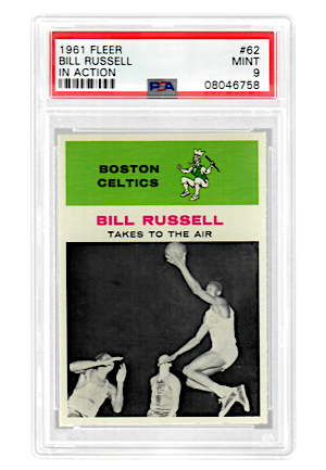 "1961 Fleer Bill Russell ""In Action"" #62 (PSA Graded MINT 9)"
