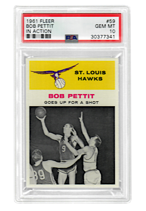 "1961 Fleer Bob Pettit ""In Action"" #59 (PSA Graded GEM MT 10 • Pop 3)"