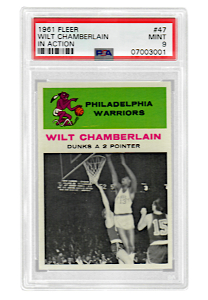 "1961 Fleer Wilt Chamberlain ""In Action"" #47 (PSA Graded MINT 9)"