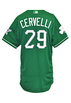 3/17/2016 Francisco Cervelli Pittsburgh Pirates Game-Used Spring Training St. Patricks Day Jersey (MLB Authenticated)
