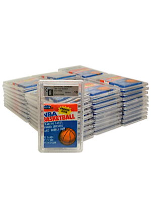 52 Individual 1986 Fleer Basketball Unopened Wax Packs & Original Display Box (53)(NM+/Perfect • BBCE Approved)