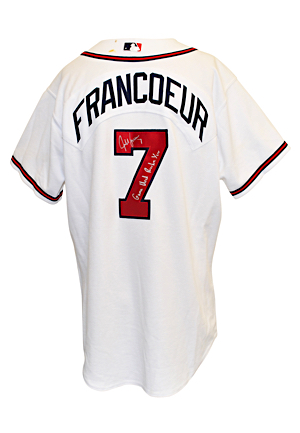 2005 Jeff Francoeur Atlanta Braves Game-Used & Autographed Rookie Home Jersey (JSA • Photo Of Francoeur With Jersey)