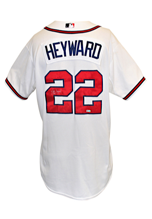 9/4/2012 Jason Heyward Atlanta Braves Game-Used & Autographed Home Jersey (JSA • MLB Authenticated)