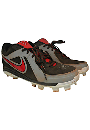 2012 Joey Votto Cincinnati Reds Game-Used & Autographed Cleats (JSA • PSA/DNA)