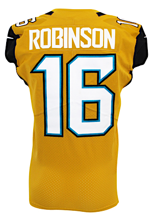 "2016 Denard Robinson Jacksonville Jaguars Game-Used ""Color Rush"" Road Jersey (PSA/DNA • Photo-Matched To 10/27/2016)"