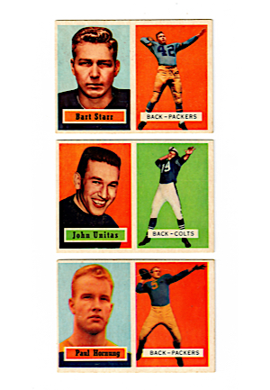 1957 Topps Football Cards of John Unitas #139, Paul Hornung #151 & Bart Starr #119 (3)