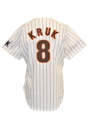 1986 John Kruk San Diego Padres Rookie Game-Used Home Jersey (Ray Kroc Patch)