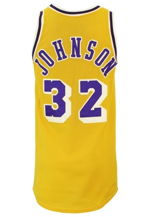 Mid 1980s Magic Johnson Los Angeles Lakers Game-Used Home Jersey