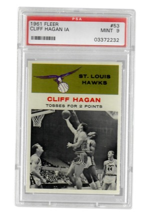 "1961 Fleer Cliff Hagan ""In Action"" #53 (PSA Graded Mint 9)"