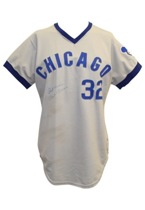 1974 Tom Dettore Chicago Cubs Game-Used Road Jersey Autographed By Milt Papas (Full JSA • Graded 10)