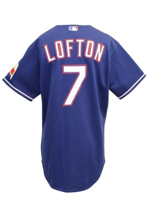 2007 Kenny Lofton Texas Rangers Game-Used Blue Alternate Jersey
