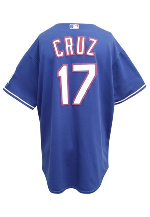 2008 Nelson Cruz Texas Rangers Game-Used Blue Alternate Jersey & Bat (2)(Rangers Gift Shop Receipt)