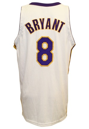 2004-05 Kobe Bryant Los Angeles Lakers Game-Used Sunday White Alternate Home Jersey