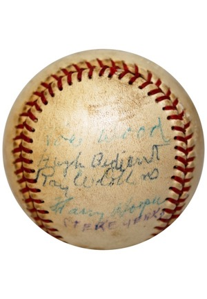 Circa 1910s Red Sox Partial Team Signed Reunion Baseball W. Harry Hooper & Smoky Joe Wood (JSA • Larry Gardner Family LOA)