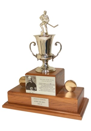 1986-87 Jack Adams Coach Of The Year Award Presented To & Autographed By Jacques Demers (JSA • Demers LOA)
