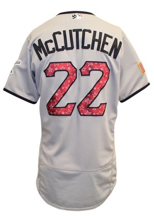 "2017 Andrew McCutchen Pittsburgh Pirates ""4th Of July Weekend"" Multi Home-Run Game-Used Road Jersey (MLB Authenticated • Photo-Matched)"