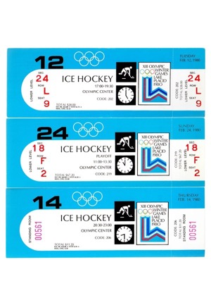 "1980 United States Olympic Hockey Full Unused Tickets From Three Games Including The Gold Medal Game (3)(""Miracle On Ice"" Team)"