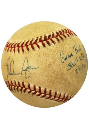 7/31/1990 Nolan Ryan Texas Rangers 300th Career Win Game-Used, Autographed & Inscribed Baseball (JSA • Umpire LOA)