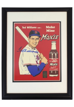 "Ted Williams Single-Signed Framed Tin ""Moxie Cola"" & ""Teds Creamy Root Beer"" Advertisement Pieces (2)(JSA • PSA/DNA • Williams Hologram)"