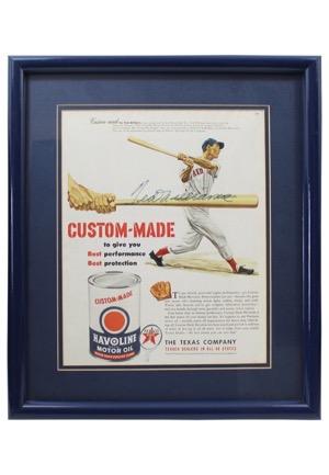Ted Williams Single-Signed Havoline Motor Oil Advertisement Piece (JSA)