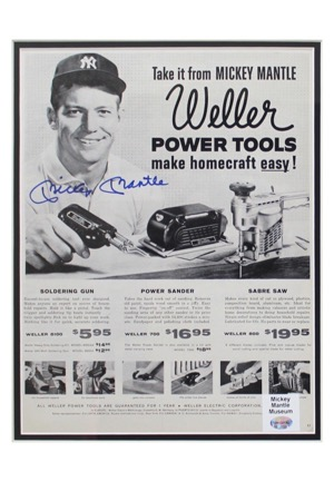 "Mickey Mantle Single-Signed Framed ""Weller Power Tools"" Advertisement Piece (Full JSA)"