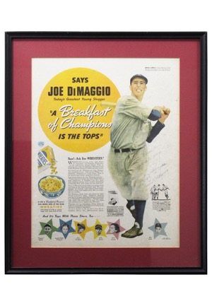 "Joe DiMaggio Single-Signed & Inscribed Framed ""Wheaties"" Advertisement Piece (JSA & PSA/DNA LOAs)"