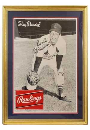 "Stan Musial Single-Signed Framed Large ""Rawlings"" Advertisement Piece (JSA • PSA/DNA)"