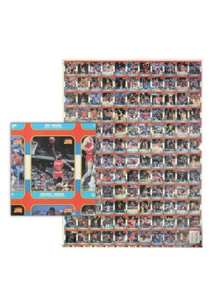 High Grade 1986 Fleer Basketball Complete Set Uncut Sheet With Pristine MJ Rookie