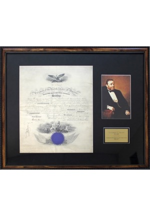 1873 Ulysses S. Grant Autographed Presidential Naval Commission Framed Document (JSA)