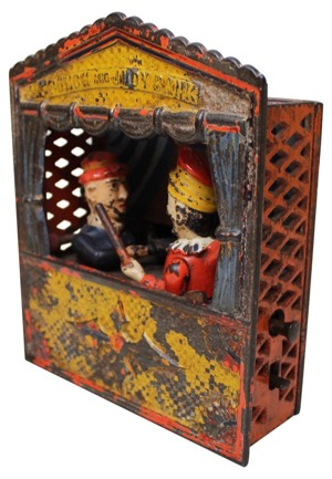 "Circa 1884 ""Punch And Judy"" Cast Iron Antique Mechanical Bank"