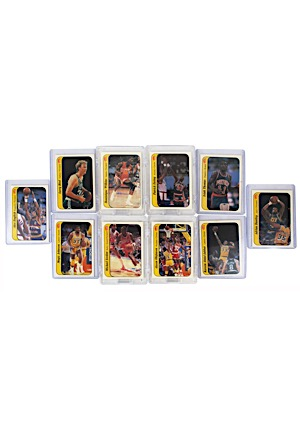 1986-87 Fleer Basketball Sticker Partial Set Including A Well Centered Jordan (10)