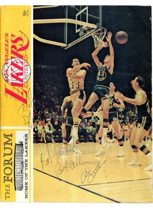 Los Angeles Lakers Autographed Media Guide, Program and 8x10s Highlighted By Two Kareem Abdul-Jabbars (JSA)(4)