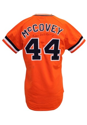 1977 Willie McCovey San Francisco Giants Game-Used & Autographed Orange Alternate Jersey (Photo-Matched & Graded 10 • Full JSA)