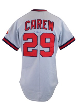 Early 1980s Rod Carew California Angels Game-Used & Autographed Road Jersey (JSA)
