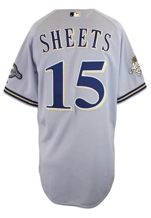 2002 Ben Sheets Milwaukee Brewers Game-Used & Autographed Road Jersey (JSA • All-Star Game Patch)