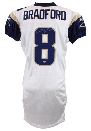 2010 Sam Bradford St. Louis Rams Game-Used & Autographed Home Jersey (JSA • RoY Season)